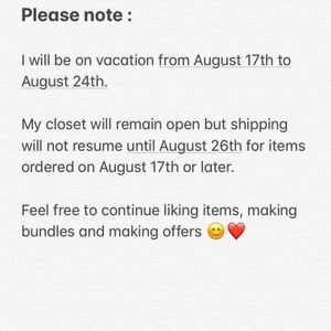 Accessories - Shipping resumes on 8/26